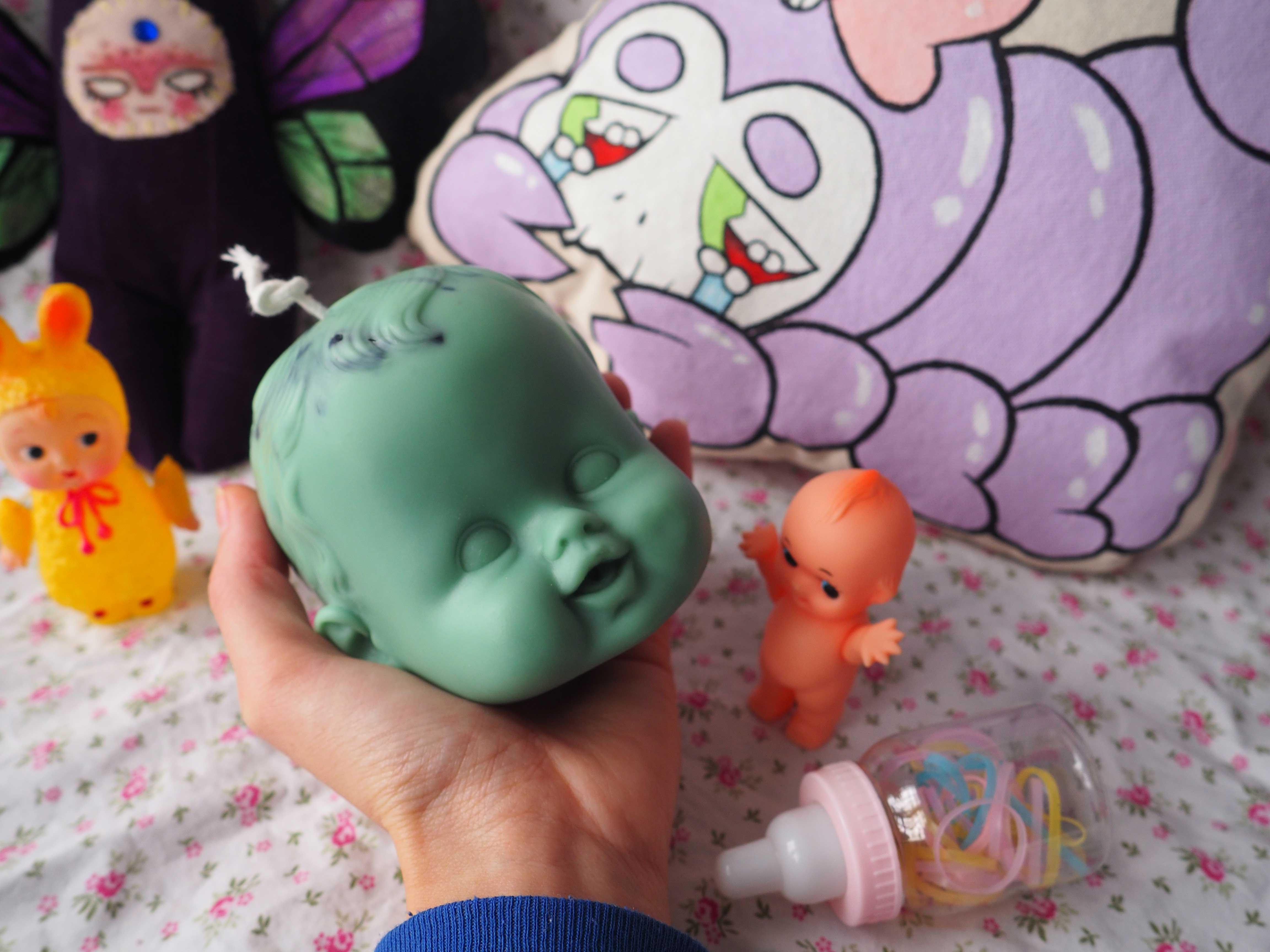 Green Casper Babydoll with Black Drip