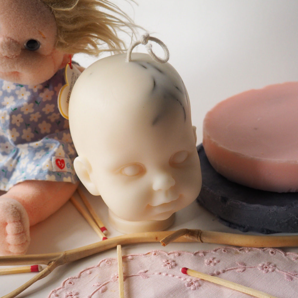 Rosemary's Baby Soy Wax Doll Head Candle
